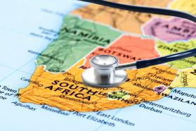 Stethoscope on a map of Africa, highlighting South Africa.