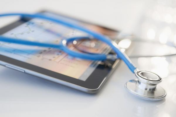 Stethoscope on a tablet computer