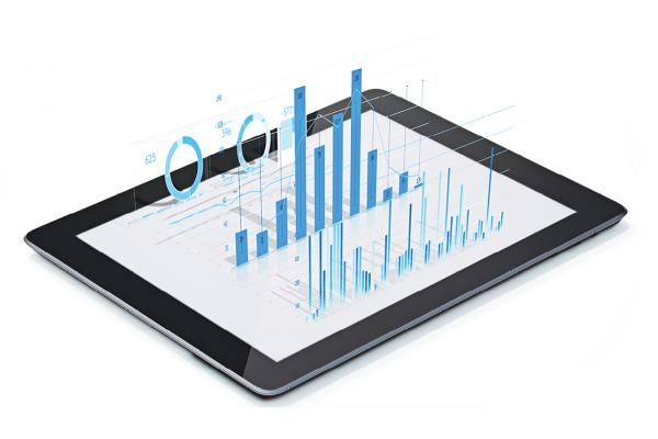 Tablet with data graphs superimposed on top