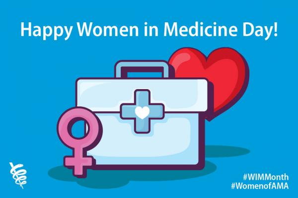 Graphic showing logo and hashtags for Women in Medicine Day