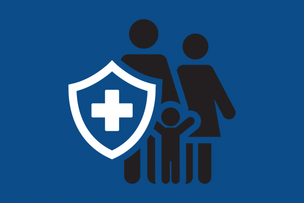 Illustration of a family behind a medical shield.