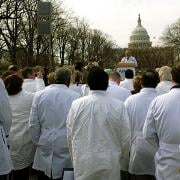 Physicians gathered outside of Capitol Hill