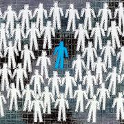 Illustration of a crowd of white figurines with a blue figurine in the middle