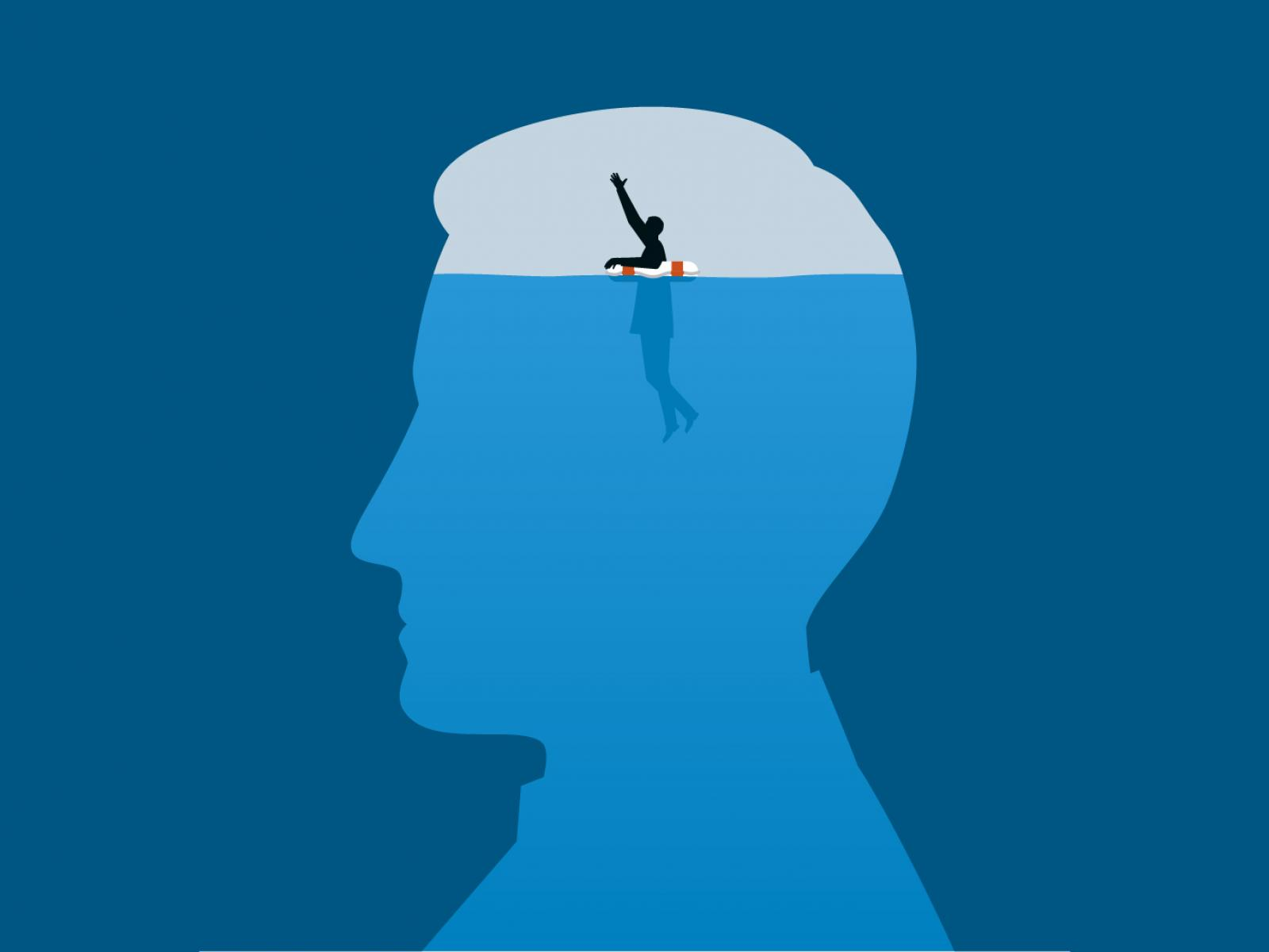 Illustration of man swimming inside the mind of a larger man