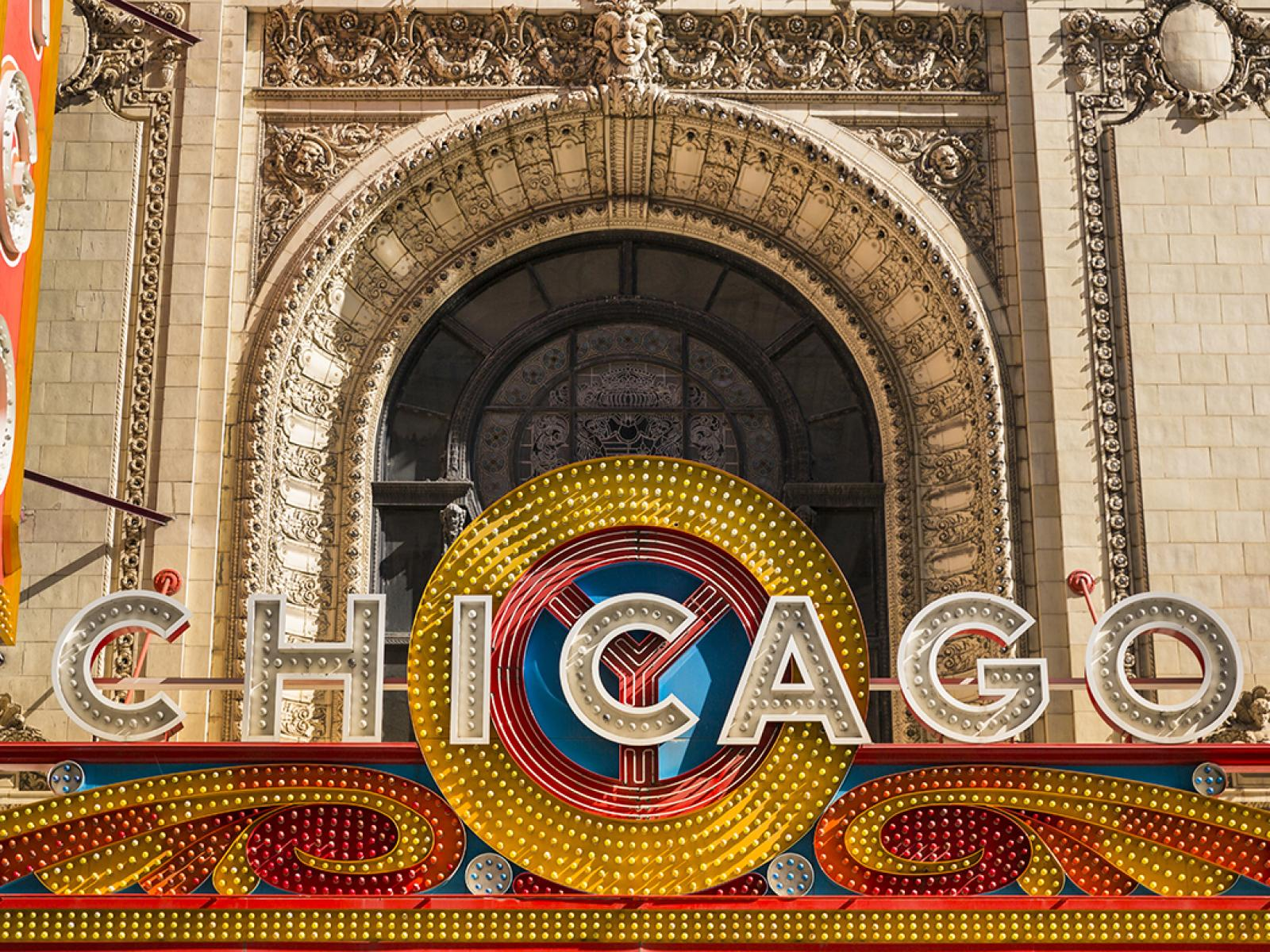 Marquee of Chicago Theater