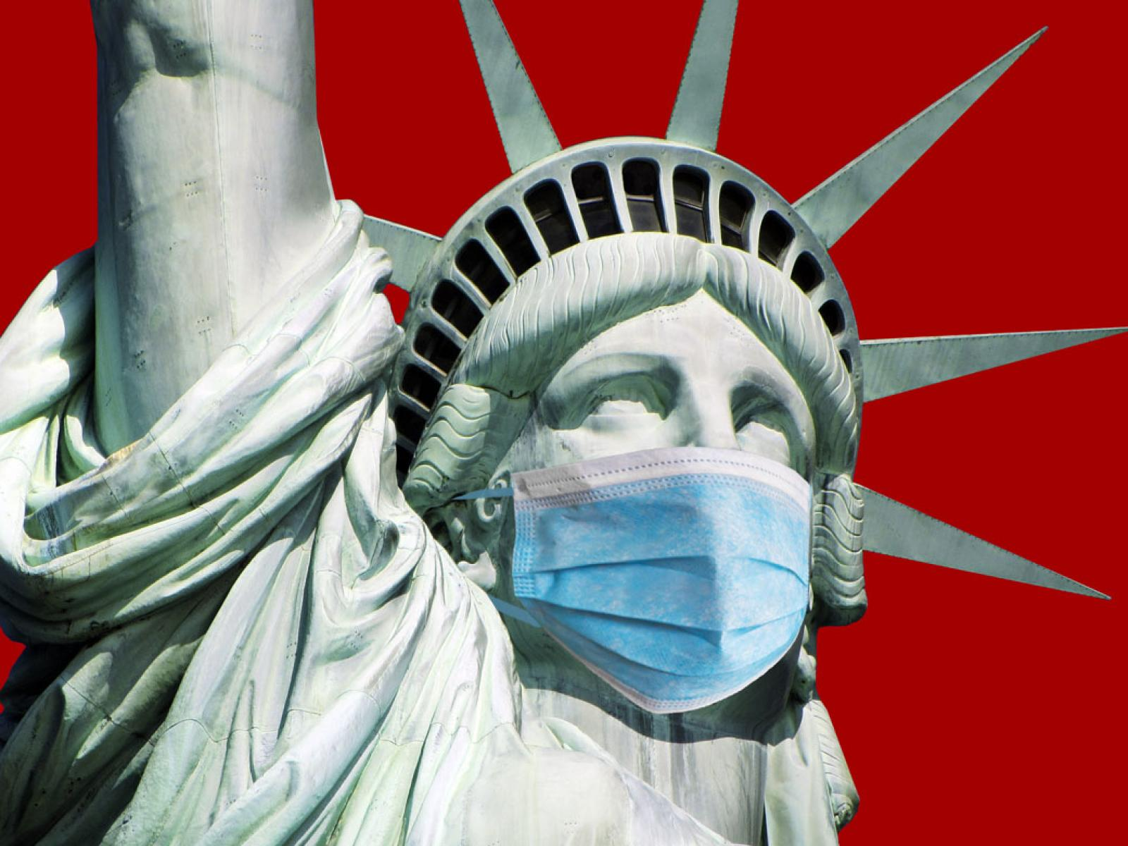 Statue of Liberty wearing a face mask