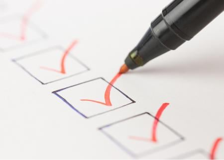 Marking items off on a checklist