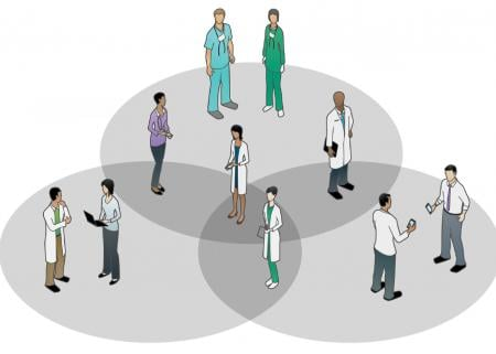 Venn diagram with physicians standing in each circle