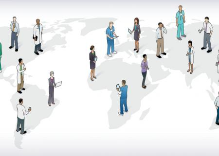 Illustration of a subtle map of the world, with heath care workers standing in different parts of the map.
