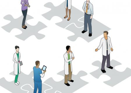 Health care workers on puzzle pieces