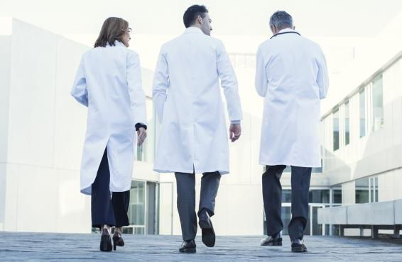 Medical professionals walking away