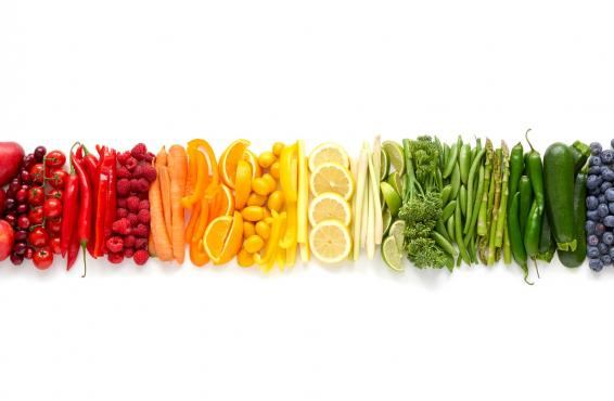 Healthy foods sorted by color