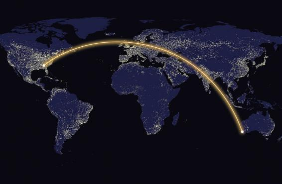 World map with path illuminated from Atlanta to Austrailia