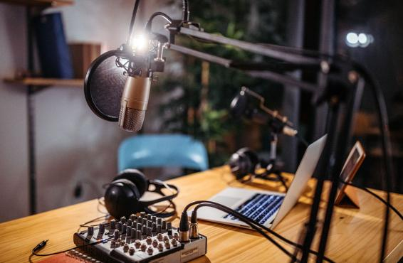 Podcast recording equipment on a table