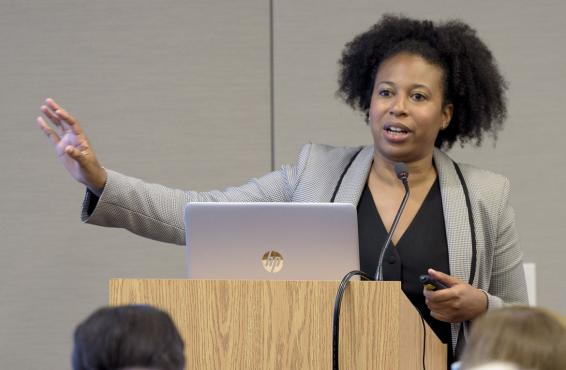 Aletha Maybank, MD, MPH, AMA's chief health equity officer, speaking at a recent education session at the AMA.