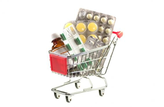 Prescription drugs in a shopping cart