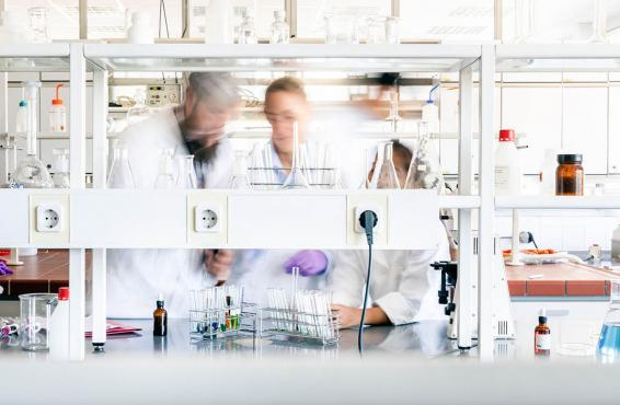 Blurred photo of doctors in a lab