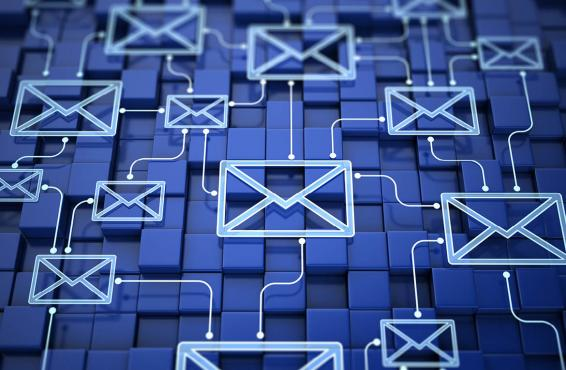 Network of email icons