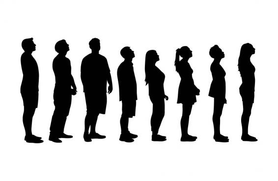 Illustration of people in line