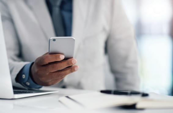 Physician on smartphone