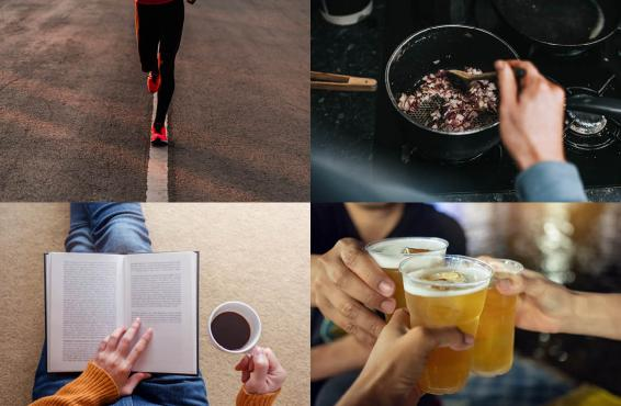 Montage of four activities/habits