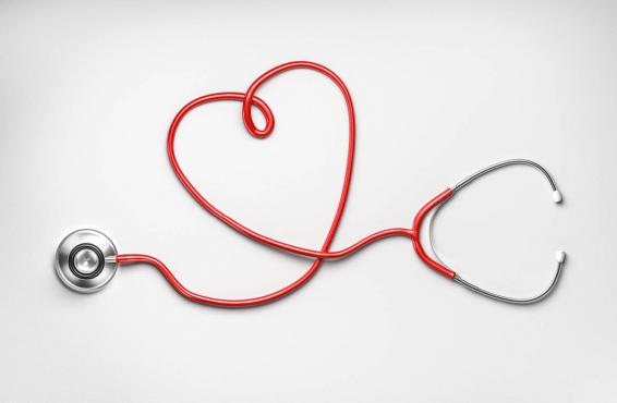 Stethoscope shaped as a heart