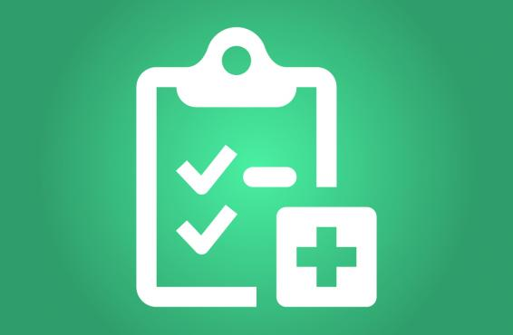 Checklist with a medical cross symbol