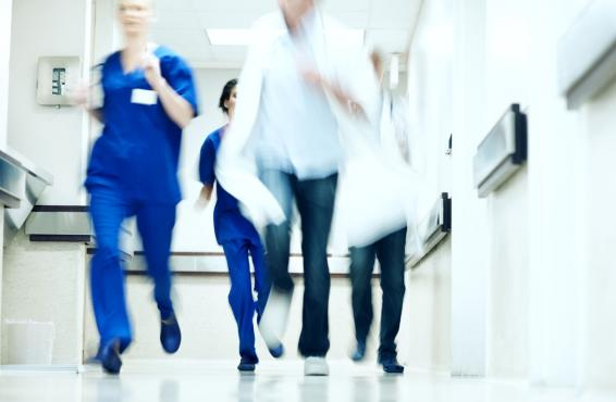 Health care workers in hallway