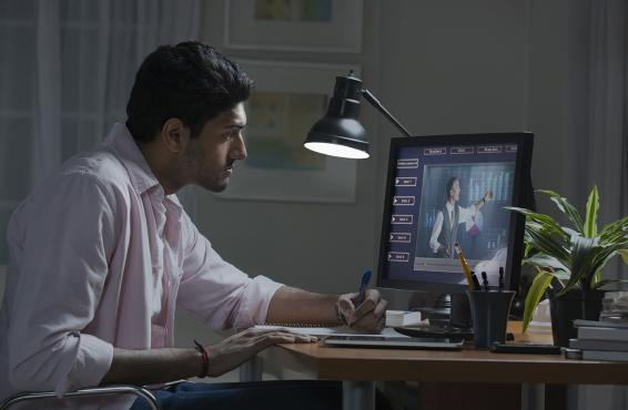 Person working at desktop