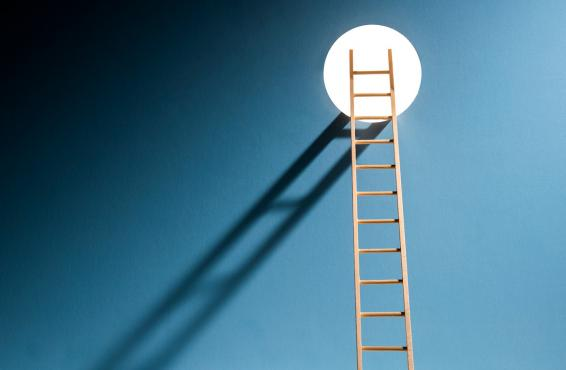 Illustration of a ladder in the darkness reaching up to a hole where light shines through.
