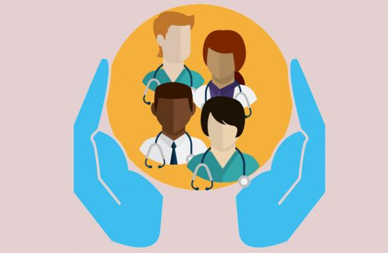 Illustration of four doctors being supported by a pair of hands