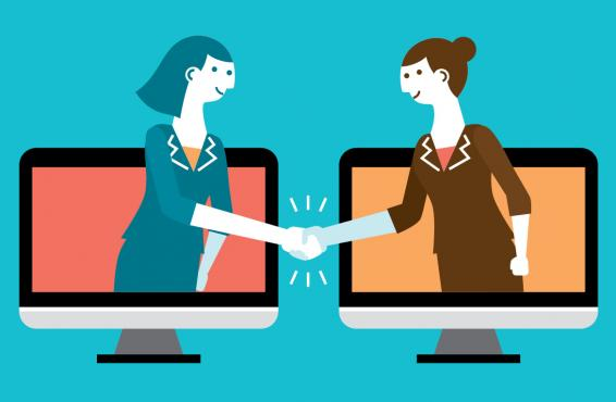 Illustration of two women reaching out of their computers shaking hands