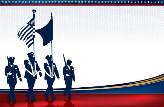 Illustration of a military color guard
