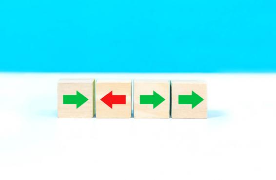 Blocks with arrows in different directions