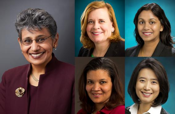 Collage of five honorees for women in medicine event