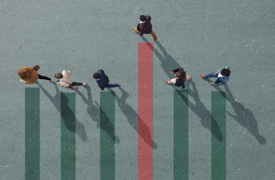 Overhead photo-illustration of several people walking, representing a graph