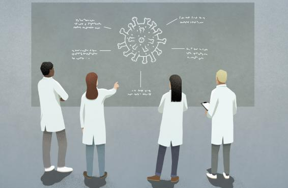 Health care workers discussing COVID-19 diagram