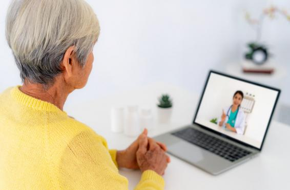 A woman talking to a doctor on her laptop computer.