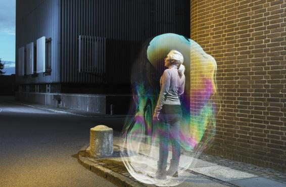 Young woman in a bubble