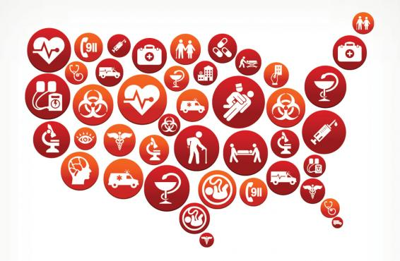 Illustration of the continental United States made up of red and white circular icons representing different aspects of medicine.