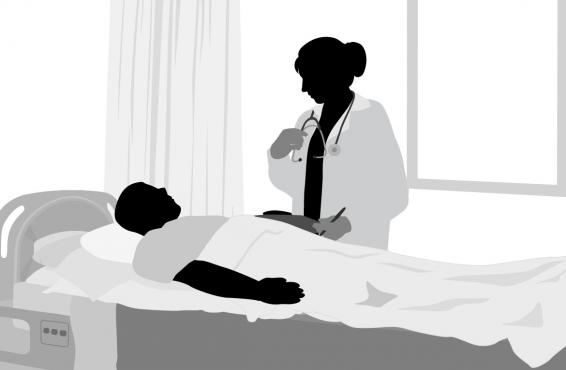 Black and white illustration of a patient in a hospital bed being attended by a physician.
