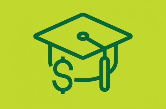 Blue line drawing of a mortar board and dollar sign against a lime green background.