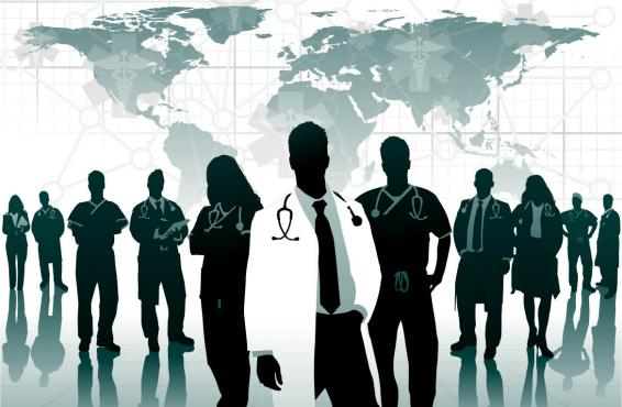 Illustration of physicians in front of a map