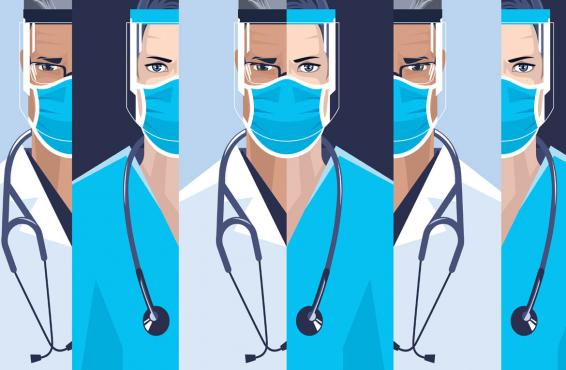 Drawing of various physicians with stethoscopes and wearing PPE, including face shields and masks.