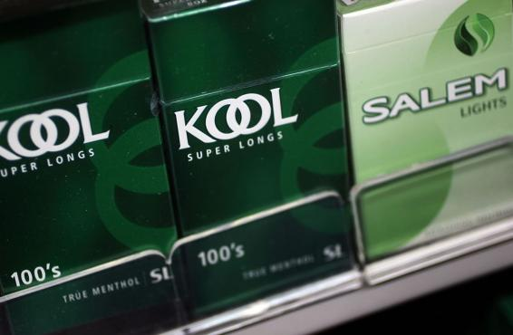 Menthol cigarettes displayed in vending machine