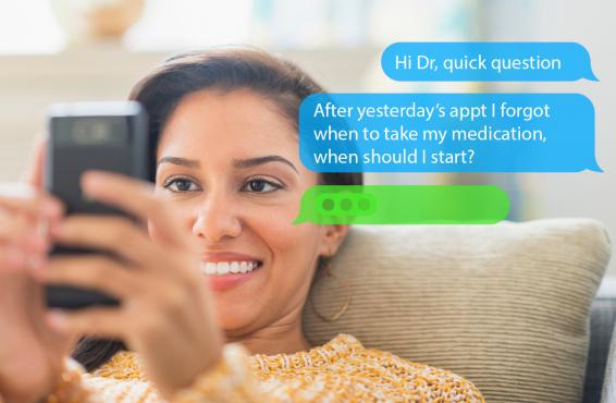 Patient sending a text to her physician.