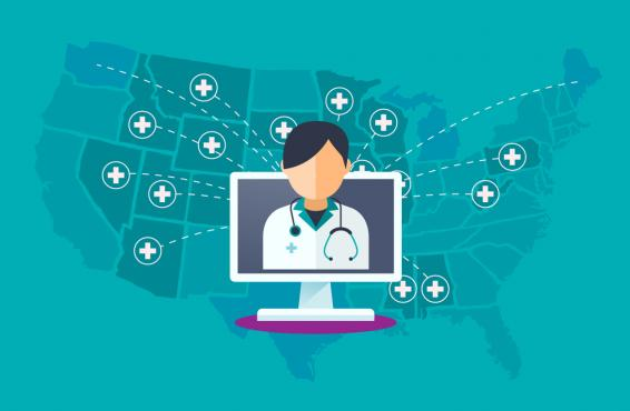 Vector graphic of physician on screen reaching across the United States.
