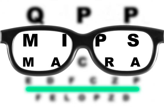 Pair of glasses over an eye chart's letters that spell QPP, MIPS and MACRA