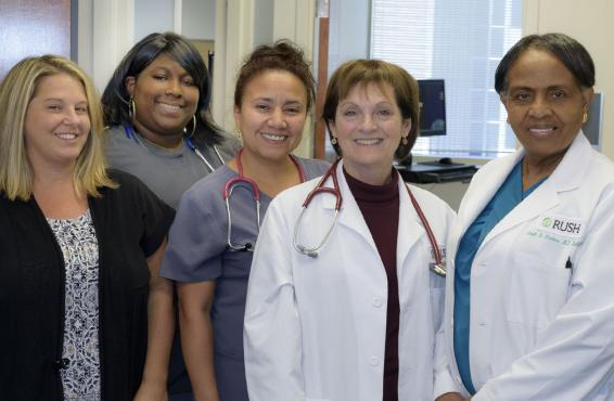 Gina Tartaglia, Krystal Melton, Veronica GarcMarie T. Brown, MD, and team, an internal medicine specialist at Rush University Medical Center.ia, Marie Brown, MD, and Janet Forbes, MD.