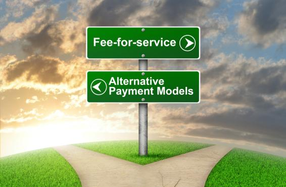 Roadsigns pointing to Fee-for-Service and Alternate Payment Models